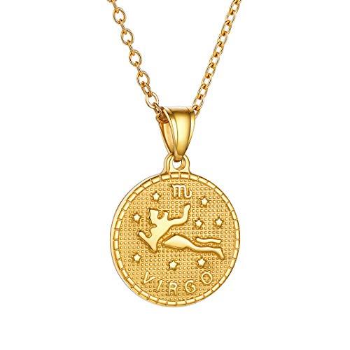 GoldChic Jewelry Virgo Colgante Collar Ajustable Dorado, Acero Inoxidable con baño de 18K Oro, dijes de 12 Constelaciones, Gratis Caja de Regalo