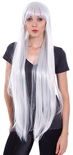 Simplicity Women's Full Straight Long Cosplay Costume Party Wig with Free Wig Cap