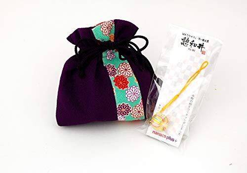母の日 プレゼント ちりめん巾着 ほのか&京飴ストラップセット 紫色