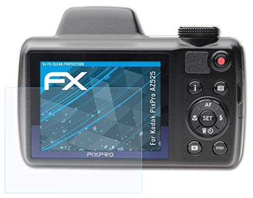 atFoliX Schutzfolie kompatibel mit Kodak PixPro AZ525 Folie, ultraklare FX Bildschirmschutzfolie (3X)