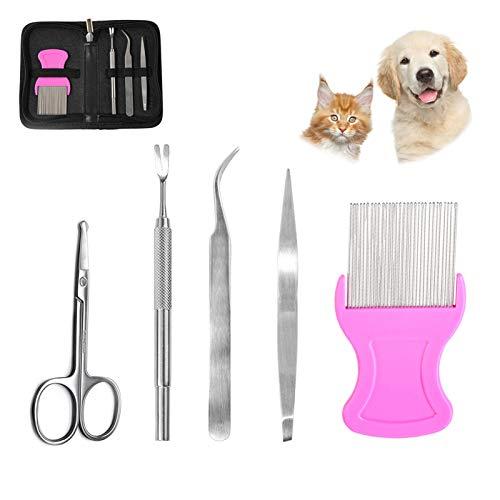 LLGL 5 in 1 Zeckenentferner Set Zeckenzange Zeckenpinzette Flohkamm Fellschere aus rostfreiem Edelstahl für Hund Katze Haustiere mit Etui (Rosa)