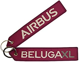 Airbus Schlüsselanhänger Beluga XL | Berry | Gestickte Silberne/Graue Schrift | ca. 16 x 3,0 cm | DE Händler