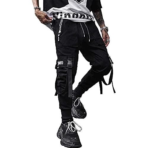 XYXIONGMAO Men's Jogger Pants Techwear Hip Hop Goth Pants Urban Streetwear Harem Pants Sweat Pants Tactical Track Pants Multi-Pocket Black Joggers (Black, L)