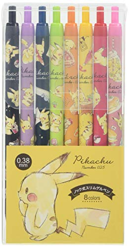 Kamio Japan Pokemon Pikachu Gel Ink Ballpoint Pen 0.38mm 8 Color Set 21470