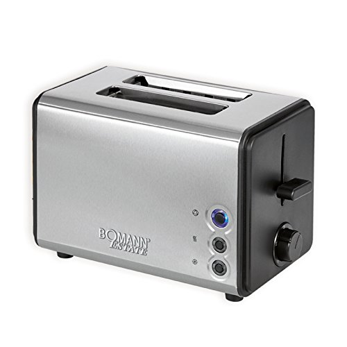 Bomann TA 1371 CB — 2 Scheiben-Toaster, Brötchenaufsatz abnehmbar, Edelstahlgehäuse, 750-850 Watt