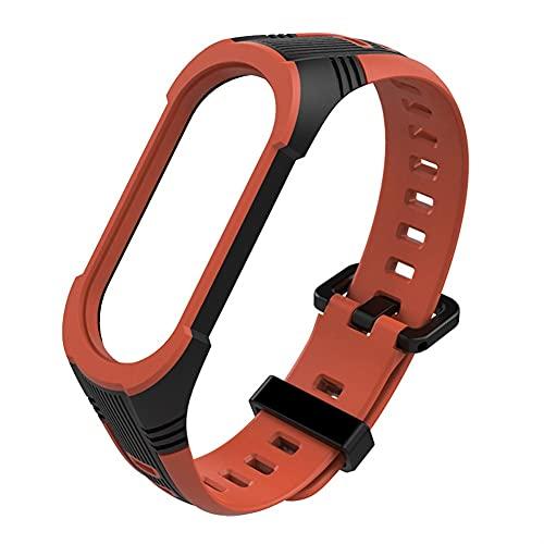 Reloj de reloj para MI Banda 3 4 5 Silicone transpirable Sport Watch Strap Smart Watch Muñequeras Accesorios de reemplazo Correas (Band Color : Black Orange, Size : For Mi Band 3)