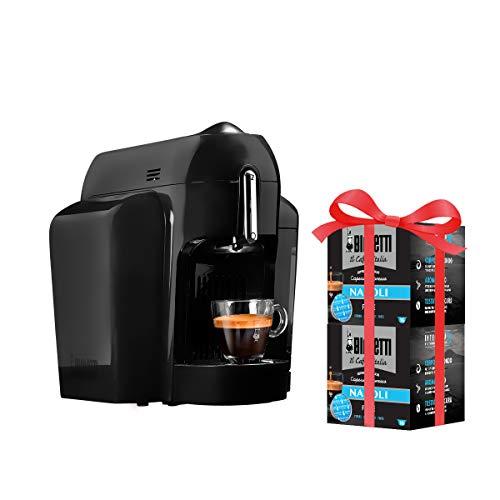 Bialetti Mini Macchina Espresso Alluminio Sistema caffè d'Italia, Black + 32 Capsule Omaggio, 1200 W, Nero