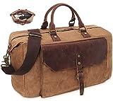 Travel Duffel Bags Weekender Bag Waterproof Waxed Canvas Genuine Leather Duffle Bags Large Carry On Bag Overnight Bag for Women Men in Brown