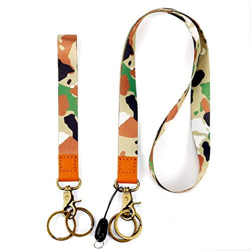 Lanyard with ID Holder Key Chain Wrist Strap Badge Mobile Phones Wallets Car Key Lanyards Durable Premium Quality Wristlet Strap Neck Cool Lanyard (2 Pack) (Digital Camo)