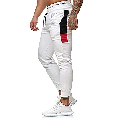 ZYOONG Pantalones deportivos para hombre, de gran tamaño, pantalones deportivos, deportivos, de moda, informales, para pérdida de peso, ropa deportiva (color: blanco, talla: XL)