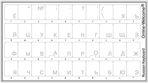 Russian with White Lettering Keyboard Stickers Transparent for Computers LAPTOPS Desktop Keyboards