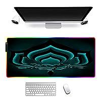 マウスパッド 大型RGBゲーミングマウスパッドWarframe輝くLEDゲーマーコンピューターキーボードデスクマットPCラップトップ用31.5x11.8インチ