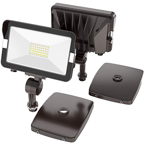 HYPERLITE 2 Pack 50W LED Flood Light Outdoor with Knuckle Mount, Wall Mount 5000K 5,500Lm IP65 Waterproof LED Security Lights for Yard Garden Garage UL Listed