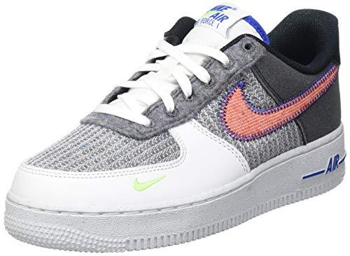 Nike Air Force 1 07, Zapatillas de bsquetbol Hombre, White Sport Red Grey Electric Green, 39 EU