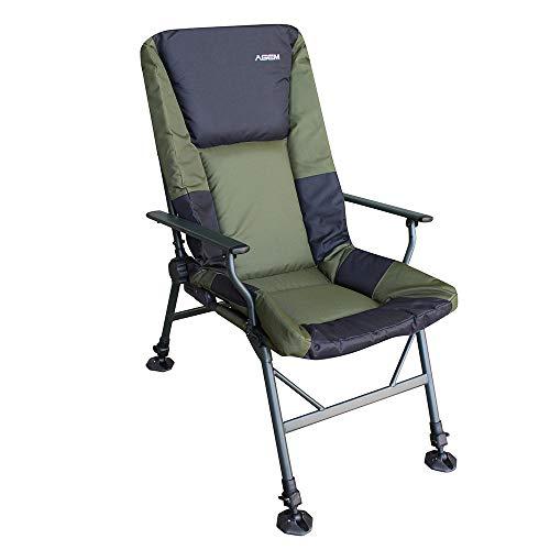 AGEM Fischerstuhl Faltbar 150kg Outdoor Carp Stuhl Folding Chair Karpfenstuhl mit Armlehne