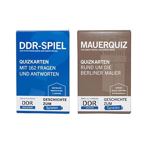 DDR-Nostalgie Kartenspiel-Set: DDR Spiel & Mauer-Quiz | Berlin Geschichte als Geschenk | Reisespiele | Ostalgie für Ostpakete