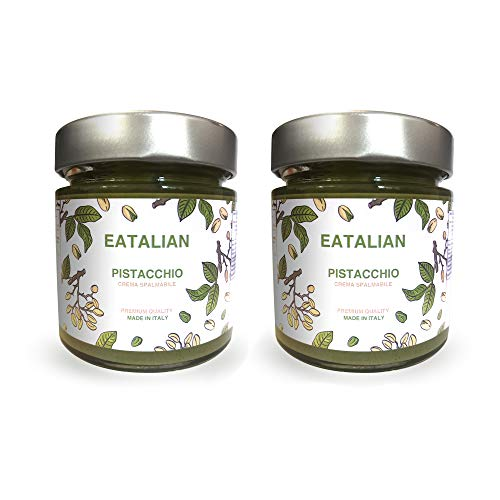 EATALIAN by AMZ BETTER Streichbare Pistaziencreme 200G x 2 Gläser, Brotaufstrich Natürliches und sizilianisches Protein, Made in Italy, süßer Geschmack. Ideal für Brot und zum Füllen von Kuchen
