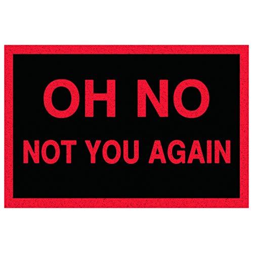 LHM Oh No Not You Again - Felpudo (40 x 60 cm, tejido denso para el medio ambiente de alto tráfico), Rojo, 40X60cm