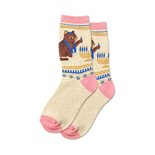 Hotsox Kid's Hanukkah Cat Socks 1 Pair, Natural Melange, Small/Medium