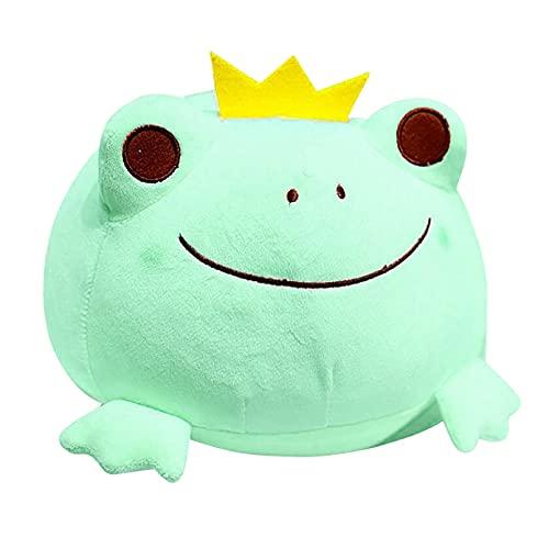 LIANGFF 35 cm Lindo la Corona de la Rana Almohada de Felpa Relleno de algodón Juguetes para niños Kawaii Smile Frog muñecas para niños Regalo de cumpleaños
