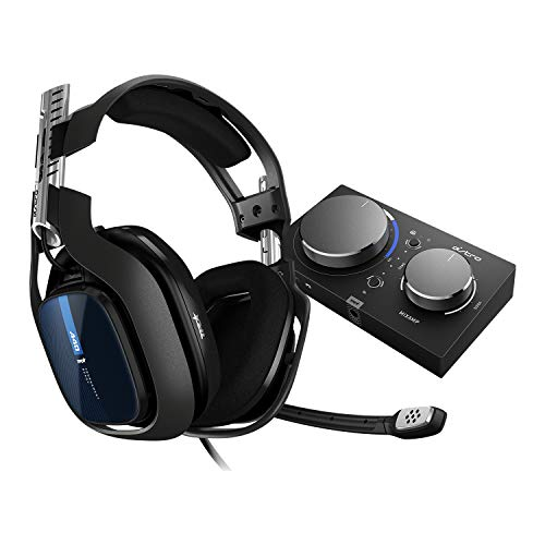 ASTRO Gaming A40 TR Auriculares alámbricos y MixAmp Pro TR, 4ta gen., ASTRO Audio V2, Dolby Audio, micrófono intercambiable, control de balance de juego/voz, para PS5, PS4, PC, Mac - Negro/Azul