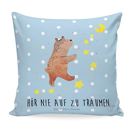 Mr. & Mrs. Panda Kissenhülle, Dekokissen, 40x40 Kissen Bär Träume mit Spruch - Farbe Blau Pastell