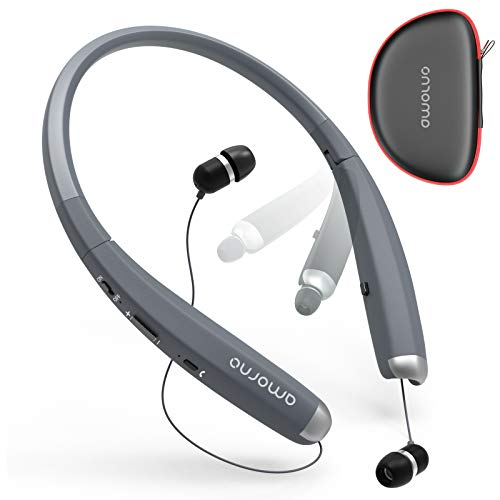 Foldable Bluetooth Headphones, AMORNO Wireless Neckband Sports Headset with Retractable Earbuds, Sweatproof Noise Cancelling Stereo Earphones with Mic (Grey)