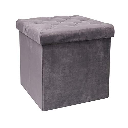 Bonlife Sitztruhe mit Stauraum Couch Hocker Sitzbank Samt Aufbewahrungsbox mit Deckel Faltbarer Fußhocker Samttuch,Sitzhocker Grau,40 x 40 x 40 cm