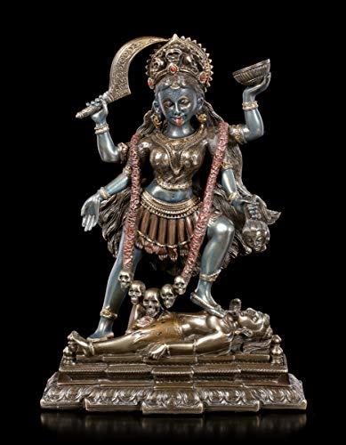 Unbekannt Kali Figur Tanzt auf Shiva - bronziert | Hinduistische Göttin des Todes, Deko-Figur, Deko-Artikel, Statue, Skulptur, Bronze-Optik, H 19,5 cm