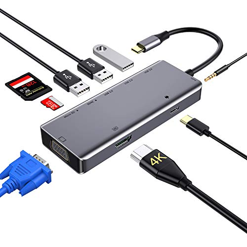 Hub USB C, concentrador Tipo c 9 en 1 con 4K HDMI,VGA,USB 3.0, USB-C Power Delivery, 3,5mm Audio Jack,Lector de Tarjetas SD/TF, Samsung Dex Adaptador para MacBook Pro 2019 y más Dispositivos (Grey)