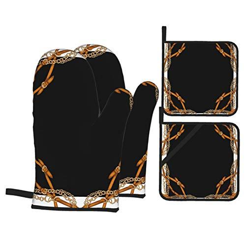 Juego de 4 Guantes y Porta ollas para Horno Resistentes al Calor Bufanda Estampada con borlas de cinturón en Negro para Hornear en la Cocina,microondas,Barbacoa