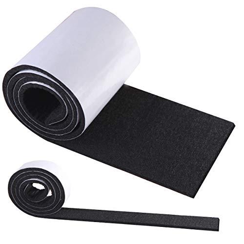 Filzgleiter Selbstklebend Schwarz, HTBAKOI Filz Selbstklebend 2 Rollen Filzband (100 * 10cm+100 * 2cm) Schneiden Sie es frei in jede Form als Möbelgleiter mit starker Haftung aus umweltfreundlichem