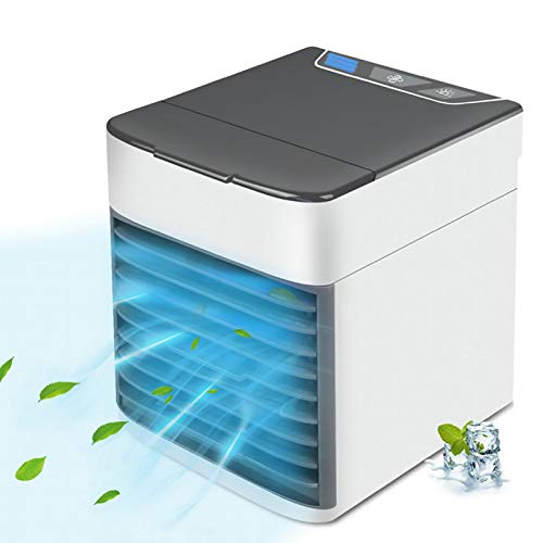 Portable Air Conditioner, Quiet USB Air Cooler with 3-speed, Personal Air Conditioner with LED Light for Small Room/Office/Dorm/Bedroom