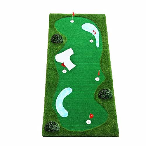 Cosas de golf- Golf Putting Practice Engrosamiento Golf antideslizante Artificial Green Golf Putting Green System Mini Ball Practice con búnker simulado, charco ondulado, taza de acero inoxidable