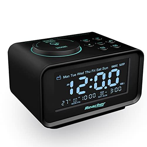 Radiowecker,REACHER FM Digitaler Wecker mit USB-Anschlüssen,Dual-Alarm,6 Wecker Geräusche,0-100{ab83b759e0cfe20df955d727a067c5aade4e75cd042a5ebc41f53c3f76a29484} Dimmer,Schlummerfunktion, Thermometer Anzeige, kleine Größe für Schlafzimmer (Schwarz)