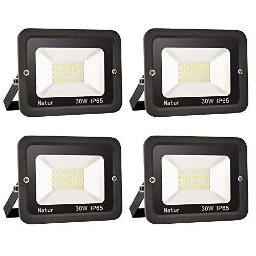4er 30W LED Strahler Außen Superhell LED Fluter 6000K LED Scheiwerfer IP65 Wasserdicht LED Flutlicht Außenstrahler Außenleuchte für Werkstatt Garage Garten (Kühles Weiß, 30W)