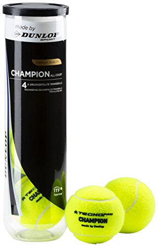 TECNOPRO Tennis-Ball Champion Allcourt 4er Tennisbälle, Gelb, One Size