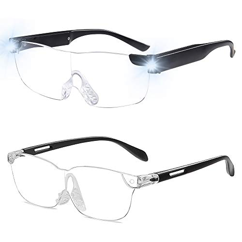 OuShiun Magnifying Glass with Light for Close Work 160% Lighted Magnifying Eyeglasses Rechargeable Led Lights for Readers Women Men Reading Small Prints Labels Hobbies (Black, 1.6X 2pack)