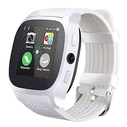 Bluetooth Smart Watch, Rastreador De Actividad Multifunción, Monitoreo De Frecuencia Cardíaca Y Datos De Ejercicios De Grabación, Recordatorio De Llamadas De Información con Cámara,Blanco