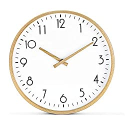 Modern Silent Non Ticking Wall Clock 12 Round Decorative Battery Operated Digital Large Wooden Wall Clock (Wooden Hands)