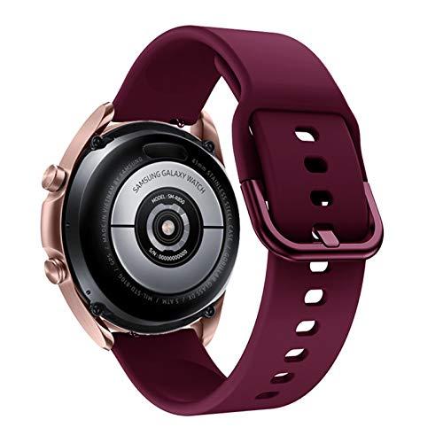 XUEMEI Banda de Reloj de Silicona para Samsung Galaxy Watch 3 41mm 45mm Pulsera Correa Deportiva Inteligente para Samsung Galaxy Watch 42mm Reloj de Reloj (Band Color : Wine Red, Band Width : 20mm)