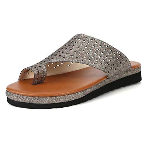SOFIALXC Sandalia de Plataforma cómoda para Mujer, Sandalias de corrección de juanetes, Sandalias de Verano con Punta Plana, Sandalias de corrección de juanetes, Zapatillas de Viaje de Playa para muj