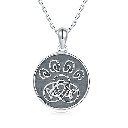 925-Sterling-Silver Celtic Dog Paw Necklace - Animal Claw Footprint Necklace Black Round Shape Pendant Jewelry Anniversary Birthday Gifts for Women Teens
