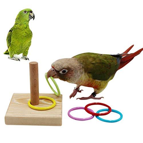 Garretlin Parrot Juguete para mascotas Pájaro Loro Plataforma de Plástico Anillo de Entrenamiento Intelectual Juguete Masticable