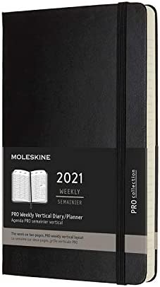 """""""Moleskine PRO 12 Month 2021 Weekly Planner, Hard Cover, XL (7.5"""""""" x 9.5"""""""") Black"""" (DHB12PRO4Y20)"""