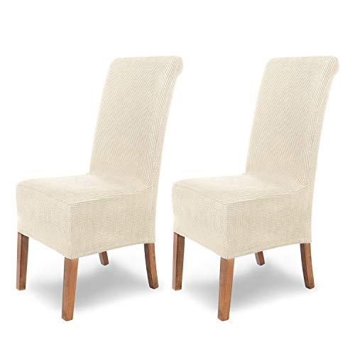 SCHEFFLER-Home Sofia 2 Fundas de sillas, Estirable Cubiertas, Velours extraíble Funda con Banda elástica, Blanco-Crudo