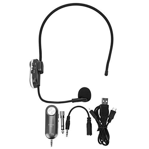 Auriculares con micrófono, banda UHF, altavoz de cabeza de audio de 3,5 mm, compatibilidad fuerte, adaptador de 6,5 mm para cantante, para entretenimiento familiar