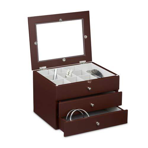 Relaxdays Sieradenkistje met 2 laden edele juwelenkist met kijkvenster en 2 grote laden kist voor het bewaren van sieraden sieraden sieraden sieraden sieraden kast van hout
