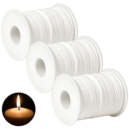 183Meters 3 Rotoli di Stoppino per Candela, Stoppino in Cotone, Candle Wick, Stoppino Piatto, Stoppino Candela, Stoppino per Candele Senza Fumo per la Produzione di Candele DIY Lampade di Candela