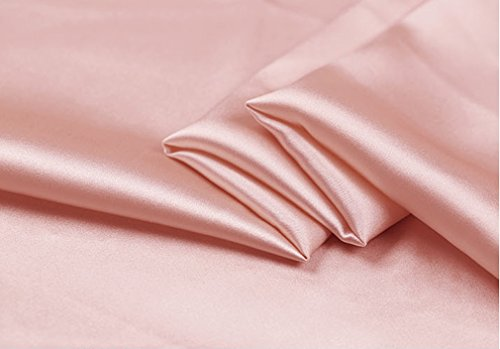Maxfeel 100% Pure Mulberry Silk Charmuse Solid Dyed Fabric Multicolor for Bedding Dress Sold by Yard or by Half a Yard (Sold by Half a Yard, Dark Pink)